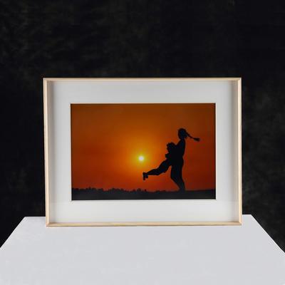 Wood surface aluminum photo frames for home decoration custom size